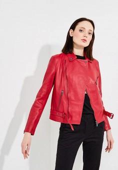 Куртка кожаная, Emporio Armani, цвет: красный. Артикул: EM598EWZWC74.