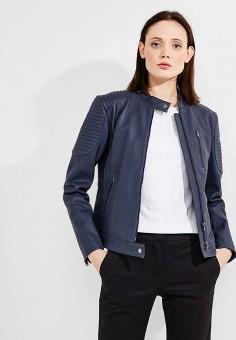 Куртка кожаная, Emporio Armani, цвет  синий. Артикул  EM598EWZWC77. Premium    96103b9ea58