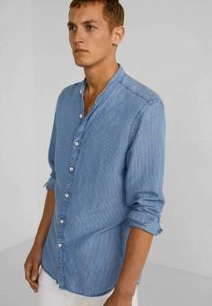 229e8f54b9e85 Рубашка, Mango Man, цвет: синий. Артикул: HE002EMFWKW7. Одежда / Рубашки