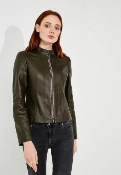 Куртка кожаная, Hugo Hugo Boss, цвет: коричневый. Артикул: HU286EWBHPE1.