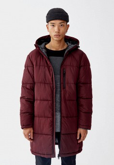 Куртка утепленная, Pull amp Bear, цвет  бордовый. Артикул  IX001XM000NS.  Одежда eed08c8741e