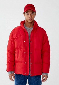 Куртка, Pull&Bear, цвет: красный. Артикул: IX001XM000OW. Одежда / Верхняя одежда / Пуховики и зимние куртки