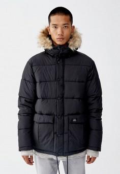 Куртка утепленная, Pull amp Bear, цвет  черный. Артикул  IX001XM000UK.  Одежда 0b75efc67e5