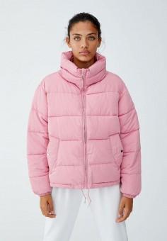 Куртка утепленная, Pull amp Bear, цвет  розовый. Артикул  IX001XW00007.  Одежда 97b130c810f