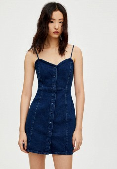 c501216e1012 Платье джинсовое, Pull amp Bear, цвет  синий. Артикул  IX001XW003IO. Одежда
