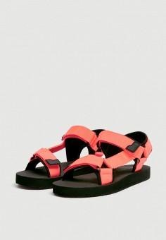 76c2822fa5111 Сандалии, Pull&Bear, цвет: коралловый. Артикул: IX001XW009LW. Обувь