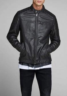 Куртка кожаная, Jack  amp  Jones, цвет  черный. Артикул  JA391EMDKEN5. 1327d4c5eea