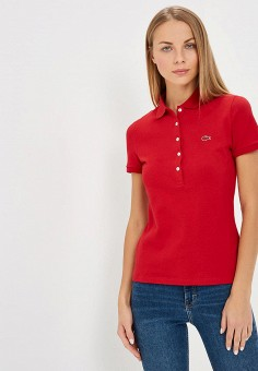 Поло, Lacoste, цвет  красный. Артикул  LA038EWCRNG1. Одежда   Футболки и 5b615c480d3