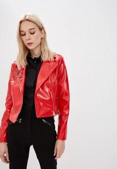 Куртка кожаная, Liu Jo, цвет  красный. Артикул  LI687EWBSPY2. Premium   f93b36a2b48