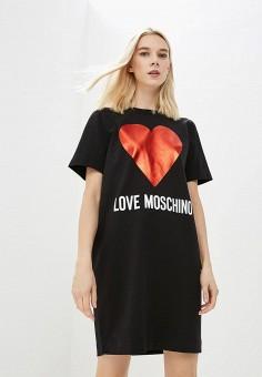 Платье, Love Moschino, цвет: черный. Артикул: LO416EWBRGU3. Одежда / Платья и сарафаны
