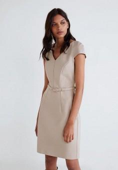 Платье, Mango, цвет  бежевый. Артикул  MA002EWDQCQ8. Одежда   Платья и c809e1543ca