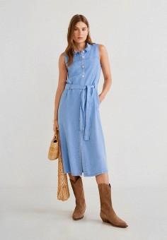 dc45e54e8b63e6c Платье джинсовое, Mango, цвет: голубой. Артикул: MA002EWFCNQ0. Одежда /  Платья