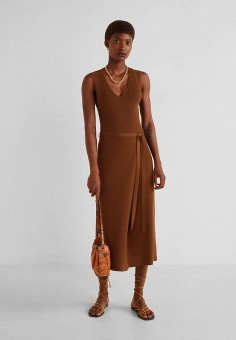 bace3a64354673a Платье, Mango, цвет: коричневый. Артикул: MA002EWFOGF3. Одежда / Платья и