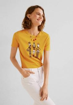 e7e5bcc79f8fd Футболка, Mango, цвет: желтый. Артикул: MA002EWFQJA7. Одежда / Футболки и