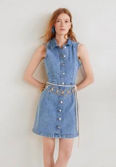 a63bc81880f4d37 Платье джинсовое, Mango, цвет: синий. Артикул: MA002EWFQJR1. Одежда / Платья