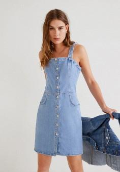 8aa263707769b34 Платье джинсовое, Mango, цвет: голубой. Артикул: MA002EWFQJR9. Одежда /  Платья