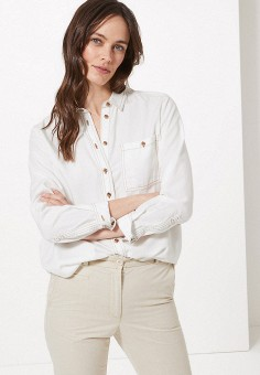 f1dfb43456de Рубашка джинсовая, Marks & Spencer, цвет: белый. Артикул: MA178EWFJJE0.