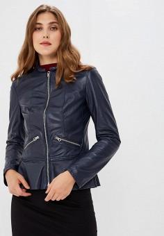 Куртка кожаная, Ne.Ra Collezioni, цвет: синий. Артикул: NE023EWCMKR2.