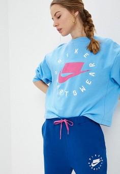 ce208c51 Свитшот, Nike, цвет: голубой. Артикул: NI464EWETRI7. Одежда / Толстовки и