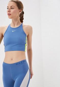 e6b1d17a957b3 Топ спортивный, Nike, цвет: синий. Артикул: NI464EWETSR8. Спорт / Бег