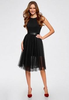 c920f81c7e9eb60 Платье, oodji, цвет: черный. Артикул: OO001EWAAYG6. Одежда / Платья и