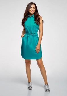 3f8fdf15218bd Платье, oodji, цвет: бирюзовый. Артикул: OO001EWFAAL3. Одежда / Платья и