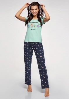 8afec2a2d637 Пижама, oodji, цвет: бирюзовый, синий. Артикул: OO001EWFAAR1. Одежда /