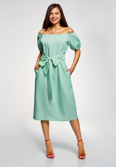 099a11f4df457b2 Платье, oodji, цвет: бирюзовый. Артикул: OO001EWFCSA6. Одежда / Платья и