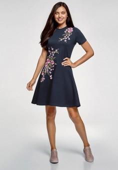 b1f88cbb66014 Платье, oodji, цвет: синий. Артикул: OO001EWFYDS3. Одежда / Платья и