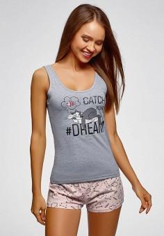 771872ff2233f Пижама, oodji, цвет: розовый, серый. Артикул: OO001EWGAIQ3. Одежда /