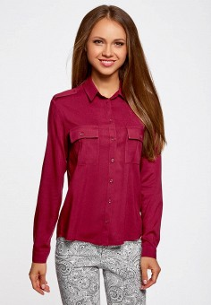 c523326004eabd2 Блуза, oodji, цвет: бордовый. Артикул: OO001EWNWA61. Одежда / Блузы и