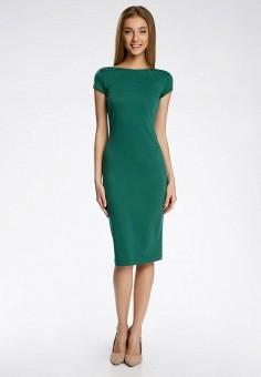 7e472005df63904 Платье, oodji, цвет: зеленый. Артикул: OO001EWQYR86. Одежда / Одежда больших