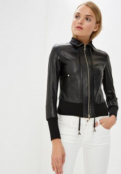 Куртка кожаная, Patrizia Pepe, цвет: черный. Артикул: PA748EWBXSL5.