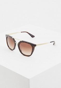 a49ade92b8c2 Очки солнцезащитные, Prada, цвет: коричневый. Артикул: PR040DWDSAO3.  Аксессуары / Очки