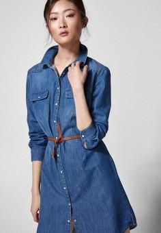 798b12d048c7dd1 Платье джинсовое, Springfield, цвет: синий. Артикул: SP014EWEAIH2. Одежда /  Платья