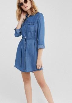 3bc267a3c45b9c9 Платье джинсовое, Springfield, цвет: голубой. Артикул: SP014EWEAIH4. Одежда  / Платья
