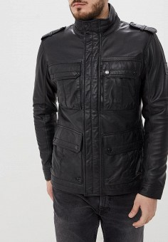 174c87baf Куртка кожаная, Strellson, цвет: черный. Артикул: ST004EMEJWU1. Одежда /  Верхняя