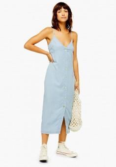 a2ccc9854171f7e Платье джинсовое, Topshop, цвет: голубой. Артикул: TO029EWFOFI1. Одежда /  Платья