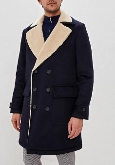 f148d5c6 Пальто, Topman, цвет: синий. Артикул: TO030EMEFRM9. Одежда / Верхняя одежда