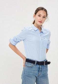 Рубашка, Tommy Jeans, цвет  голубой. Артикул  TO052EWBICU0. Одежда   Блузы 024ee261cfe