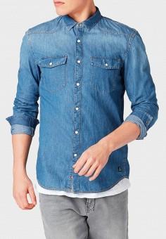Рубашка джинсовая, Tom Tailor Denim, цвет  синий. Артикул  TO793EMDTPS5.  Одежда eb16dfad794
