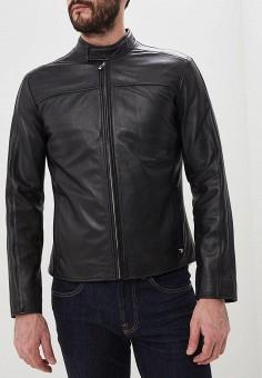 Куртка кожаная, Trussardi Jeans, цвет  черный. Артикул  TR016EMDOBV8. Одежда    1d48c4c75c1