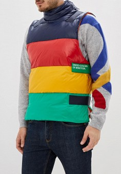 Жилет утепленный, United Colors of Benetton, цвет: мультиколор. Артикул: UN012EMFUVX8. United Colors of Benetton