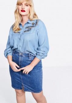 8b8d63f8 Рубашка джинсовая, Violeta by Mango, цвет: голубой. Артикул: VI005EWEUEU9.  Одежда
