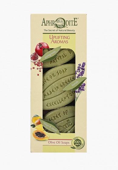 """Aphrodite Набор для ванны и душа Мыло оливковое, """"Бодрящие ароматы"""". 3 куска: с гранатом, лавандой, с манго и папайей."""