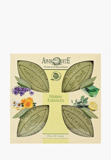 """Aphrodite Набор для ванны и душа Мыло оливковое, """"Ароматные травы"""". 4 куска"""