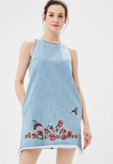 Платье джинсовое, Befree, цвет: голубой. Артикул: BE031EWBXIK3. Одежда / Платья и сарафаны