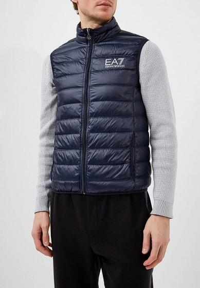 Жилет утепленный, EA7, цвет: синий. Артикул: EA002EMJXS96. Одежда / Верхняя одежда