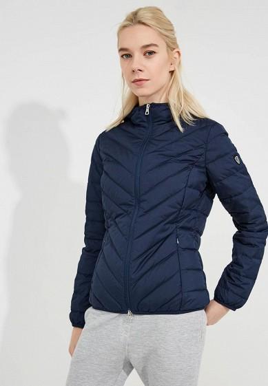 Пуховик, EA7, цвет: синий. Артикул: EA002EWBODW2. Premium / Одежда / Верхняя одежда