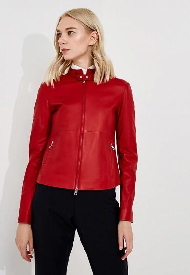 Куртка кожаная, Emporio Armani, цвет: красный. Артикул: EM598EWBLMZ2. Одежда / Верхняя одежда / Кожаные куртки